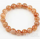 Wholesale 10mm Round Natural Copper Rutilated Quartz Beaded Elastic Bangle Bracelet