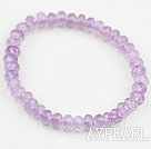 Natural Faceted Abacus Shape Amethyst Elastic Bangle Bracelet