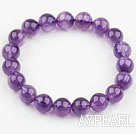 10mm Round Natural Amethyst Beaded Elastic Bangle Bracelet
