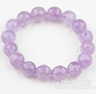 Wholesale 12mm Faceted Natural Amethyst Beaded Elastic Bangle Bracelet