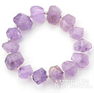 Natural Incidence Angle Shape Amethyst Elastic Bangle Bracelet