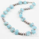 Wholesale Incidence Angle Shape Aquamarine and Gray Freshwater Pearl Necklace