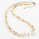 A Grade Natural Golden Rutilated Quartz Necklace with Sterling Silver Clasp