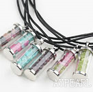 Multi Color Natural Stone Chips Wishing Bottle Pendant Necklace(For 1 Piece)