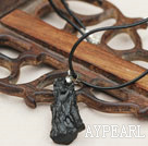 Black Meteorite Pendant Necklace with Black Imitation Leather Cord