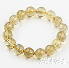 Wholesale 12mm Natural Lemon Quartz Beaded Elastic Bangle Bracelet