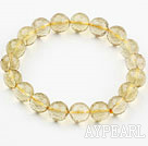 10mm Round Faceted Lemon Quartz Beaded Elastic Bangle Bracelet
