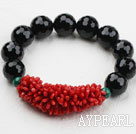 Natural Red Coral and Black Agate and Malachite Elastic Bangle Bracelet