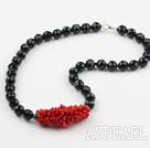 Natural Red Coral and Black Agate and Malachite Necklace with Sterling Silver Clasp