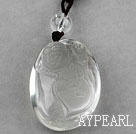Natural Clear Crystal Laughing Buddha Pendant Necklace with Black Thread