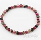 5mm Multi Color Round Natural Tourmaline Beaded Elastic Bangle Bracelet