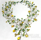 Elegant Klar og Lemon Color Crystal og Cat Eye Flower halskjede