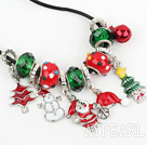 Fashion Style Red and Green Colored Glaze Xmas / Christmas Charm Necklace