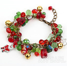 Wholesale Fashion Style Assorted Red and Green Crystal Xmas / Christmas Charm Bracelet