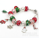 Wholesale Fashion Style Multi Colored Glaze Xmas / Christmas Charm Bracelet