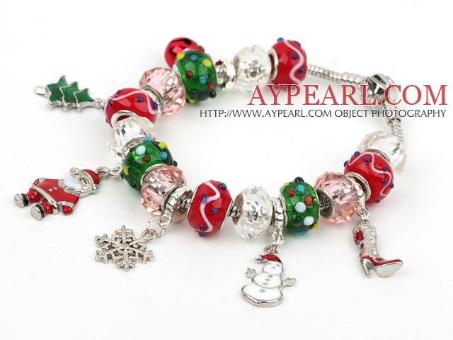 Fashion Style Multi Colored Glaze Xmas / Christmas Charm Bracelet