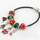 Wholesale Fashion Style Red Colored Glaze Xmas / Christmas Charm Bracelet