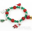 Wholesale Green Agate and Carnelian Stretch Xmas / Christmas Charm Bracelet
