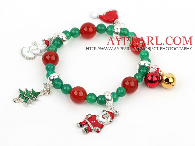 Green Agate and Carnelian Stretch Xmas / Christmas Charm Bracelet