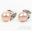 Fashion Style 6-7mm Natural Pink Freshwater Pearl Studs Earrings with Leaf Shape Rhinestone