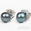 Wholesale Fashion Style 6-7mm Natural Black Freshwater Pearl Studs Earrings with Leaf Shape Rhinestone