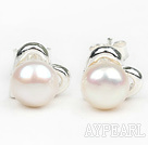 Fashion Style 6-7mm Natural White Freshwater Pearl Studs Earrings with Heart Shape Accessories