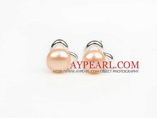 Fashion Style 6-7mm Natural Pink Freshwater Pearl Studs Earrings with Heart Shape Accessories