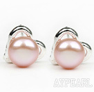 Wholesale Fashion Style 6-7mm Natural Violet Freshwater Pearl Studs Earrings with Heart Shape Accessories