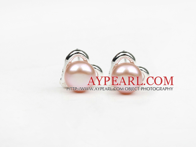 Fashion Style 6-7mm Natural Violet Freshwater Pearl Studs Earrings with Heart Shape Accessories