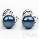 Fashion Style 6-7mm Natural Black Freshwater Pearl Studs Earrings with Heart Shape Accessories