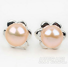 Fashion Style 6-7mm Natural Pink Freshwater Pearl Studs Earrings with Flower Shape Accessories