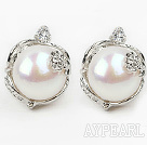 Wholesale Fashion Style 11-12mm Natural White Freshwater Pearl Studs Earrings with Flower Shape Rhinestone Accessories