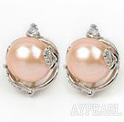 Fashion Style 11-12mm Natural Pink Freshwater Pearl Studs Earrings with Flower Shape Rhinestone Accessories