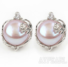 Fashion Style 11-12mm Natural Violet Freshwater Pearl Studs Earrings with Flower Shape Rhinestone Accessories