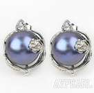 Fashion Style 11-12mm Natural Black Freshwater Pearl Studs Earrings with Flower Shape Rhinestone Accessories