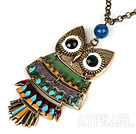 Fashion Style Animal Shape Owl Pendant Necklace with Metal Chain and Blue Agate