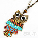 Fashion Style Animal Shape Owl Pendant Necklace with Metal Chain and Tiger Eye