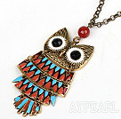 Fashion Style Animal Shape Owl Pendant Necklace with Metal Chain and Red Carnelian
