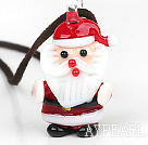 Simple Design Santa Claus Pendant Christmas / Xmas Necklace with Brown Cord