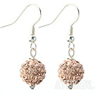 Wholesale Classic and Simple Design 10mm Light Pink Round Rhinestone Ball Earrings