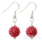Discount Classic and Simple Design 10mm Red Round Rhinestone Ball Earrings