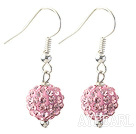 Wholesale Classic and Simple Design 10mm Pink Round Rhinestone Ball Earrings