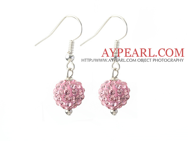 Classic and Simple Design 10mm Pink Round Rhinestone Ball Earrings