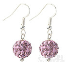 Wholesale Classic and Simple Design 10mm Light Purple Round Rhinestone Ball Earrings