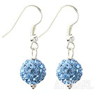 Klassisk och enkel design 10mm Light Blue runda STRASS Ball Örhängen