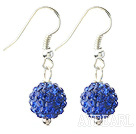 Wholesale Classic and Simple Design 10mm Dark Blue Round Rhinestone Ball Earrings