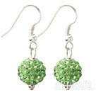 Discount Classic and Simple Design 10mm Apple Green( Light Green ) Round Rhinestone Ball Earrings