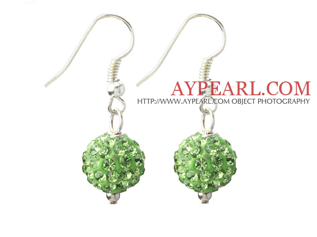 Classic and Simple Design 10mm Apple Green( Light Green ) Round Rhinestone Ball Earrings