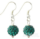 Classic and Simple Design 10mm Peacock Green Round Rhinestone Ball Earrings