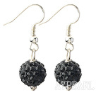 Classic and Simple Design 10mm Black Round Rhinestone Ball Earrings